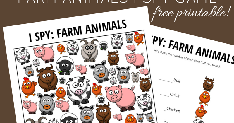 photo relating to Free Printable Farm Animals named Farm Animal Themed I Spy Activity Cost-free Printable for Children