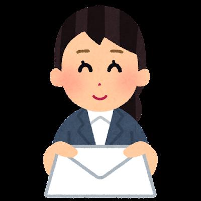 手紙を渡す会社員のイラスト(女性)