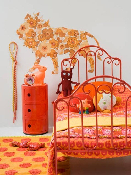 Quarto de menina laranja e branco, decoração, cor, estilos e muitas idéias