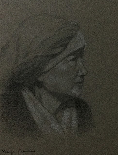 Portrait study of a woman from Thangu, North Sikkim, on Canson Mi Teintes paper