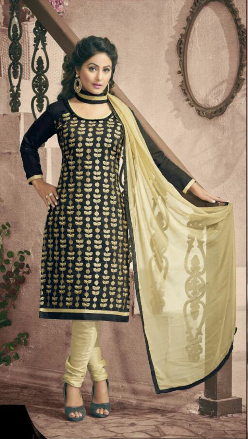 Amaya-  Designer Embroidery Black Chanderi Cotton Dress Material