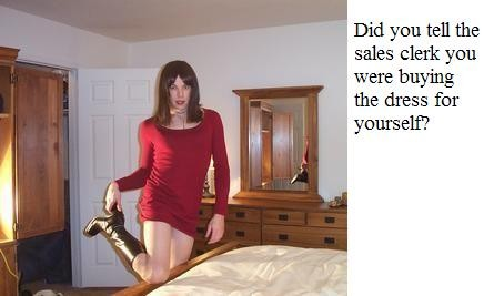 Tell the clerk that the dress is for you Sissy TG Caption - Veronica ! - Crossdressing and Sissy Tales and Captioned images