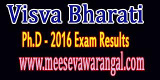 Visva Bharati Ph.D - 2016 Exam Results