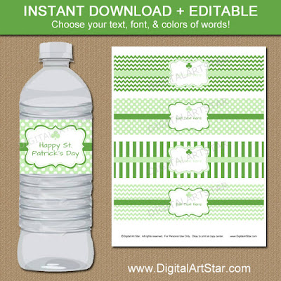 printable st patricks day water bottle labels with shamrocks