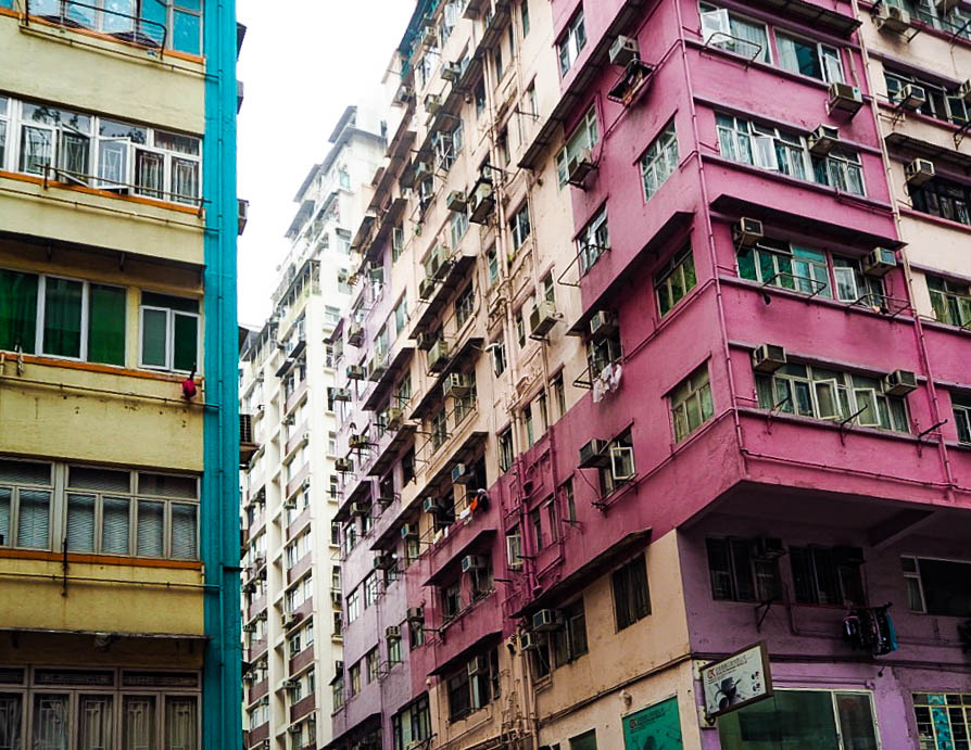 Colourful buildings in Wan Chai, Hong Kong