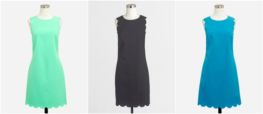 J. Crew Factory Scalloped Shift Dress $49 (reg $98)