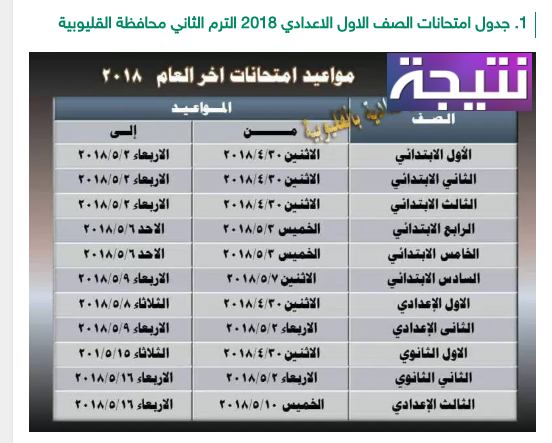 جدول امتحانات الصف الاول الاعدادي الترم الثاني 2018