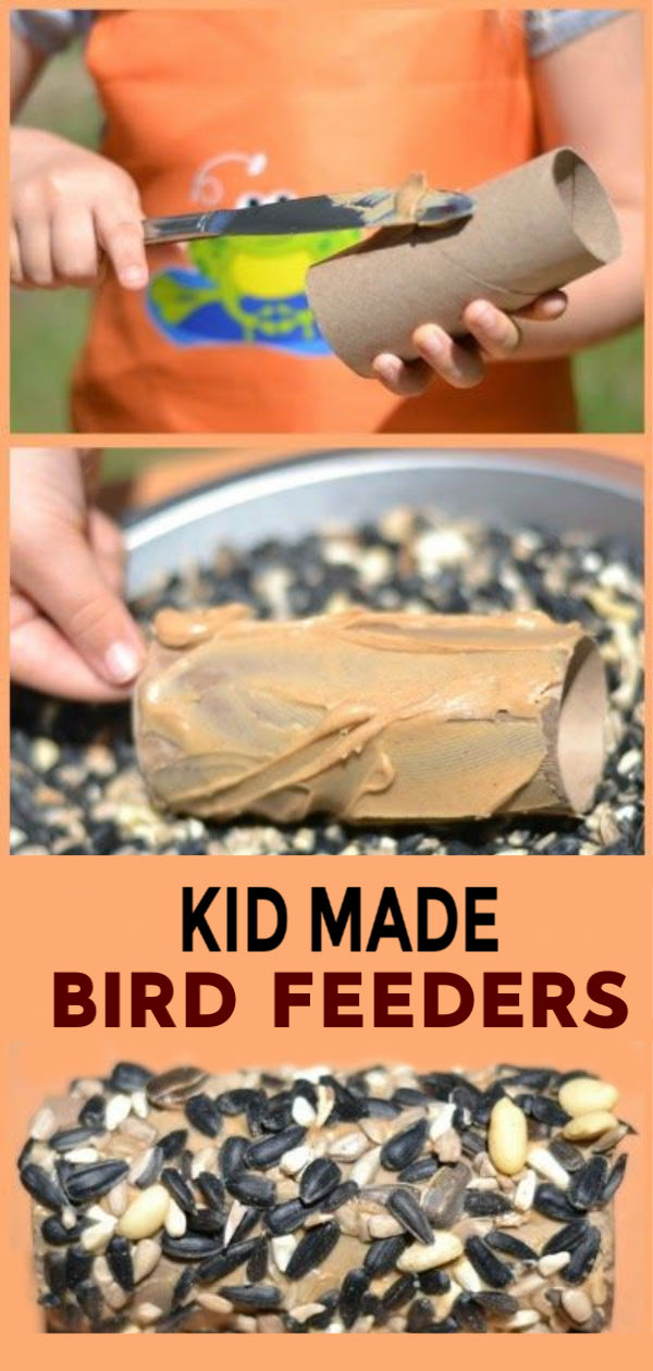 Make bird feeders using cardboard tubes and peanut butter!  These kid made bird feeders are the perfect craft for spring! #birdfeeders #birds #birdfeedersdiy #birdfeedersforkidstomake #birdfeedercraft #birdfeedershomemade #kidmadebirdfeeders #springcraftsforkids