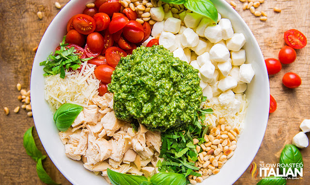 Deconstructed Pesto Pasta Salad in a Bowl
