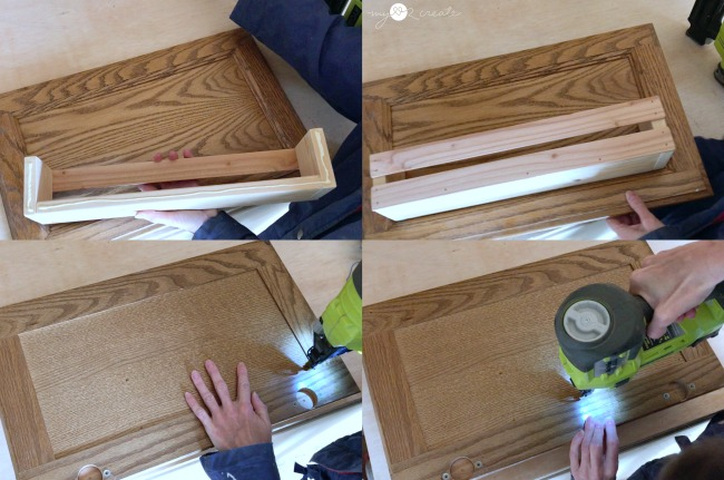 attaching shelf to cabinet door