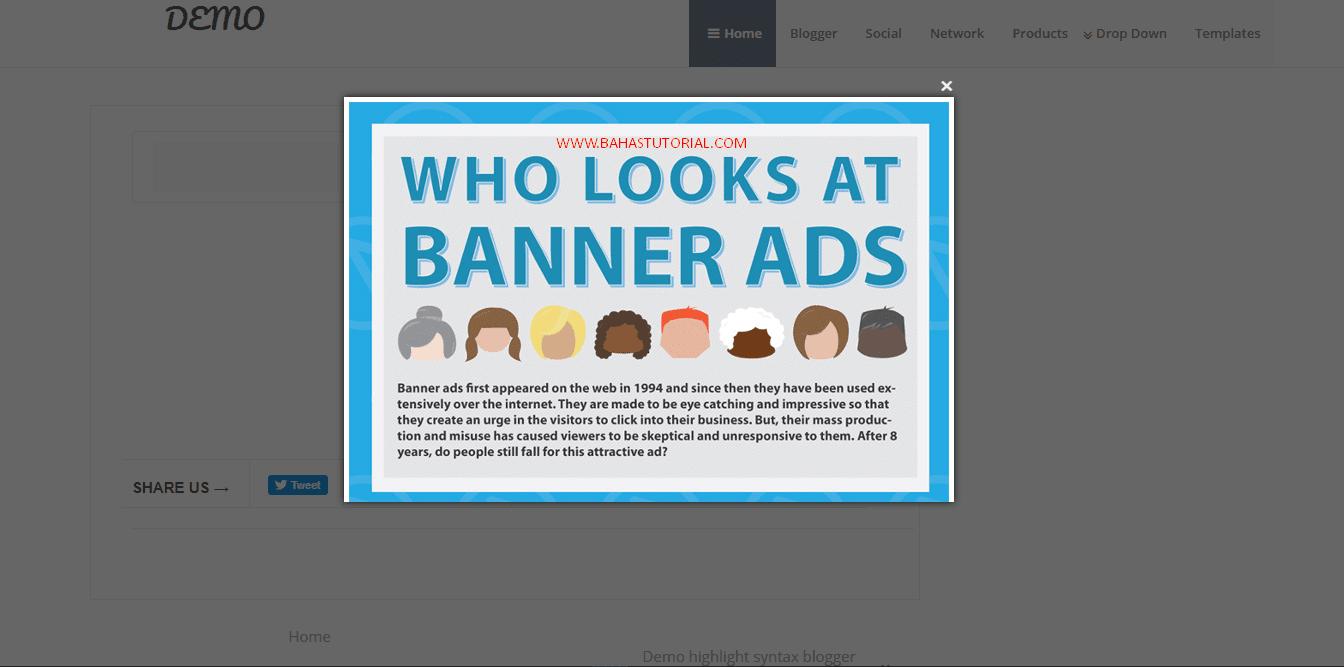 Cara Membuat Popup Banner Di Blogger Terbaru