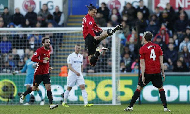 Hasil Pertandingan Swansea 1-3 Manchester United, Minggu 6 Nov 2016
