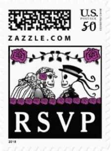 Halloween Wedding Skeletons Custom Postage RSVP Purple Roses Horizontal Small Postage