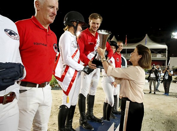 Princess Caroline of Hanover and Charlotte Casiraghi presented prizes to the winners. 2018 Monaco Longines Pro Am Cup show jumping contest