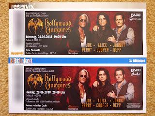 poza cu biletele pentru concertele Hollywood Vampires din Germania 2018