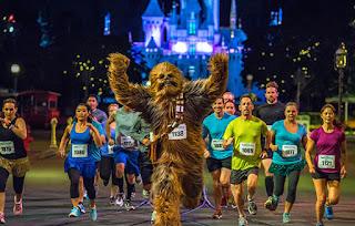 Chewbacca running in the runDisney Star Wars Half Marathon