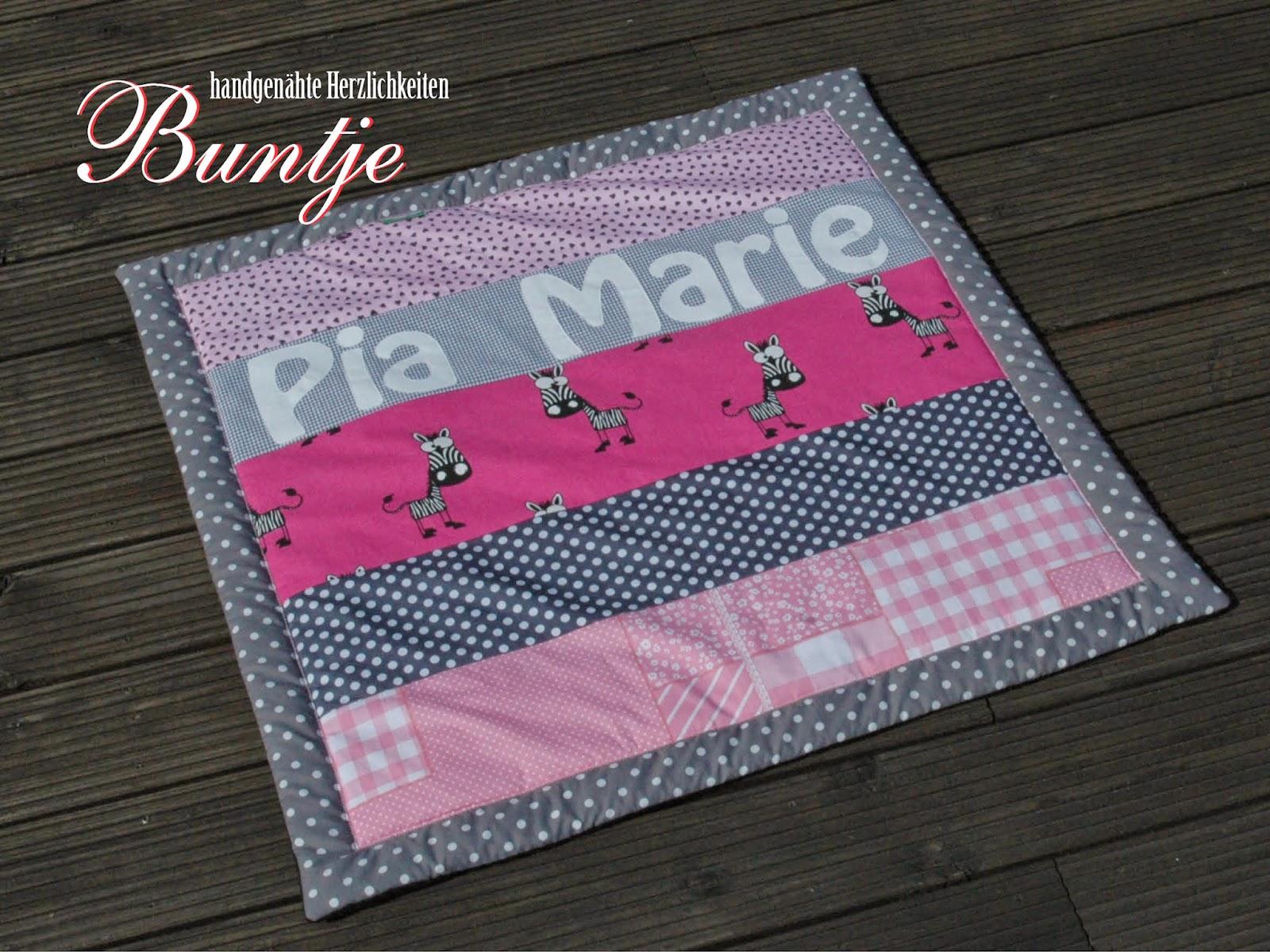 Kuscheldecke Krabbeldecke Decke Baby Name Mädchen punk rosa grau Zebra Dschungel Afrika Pia Marie Geschenk Geburt Taufe Baumwolle Fleece kuschelig nähen Buntje