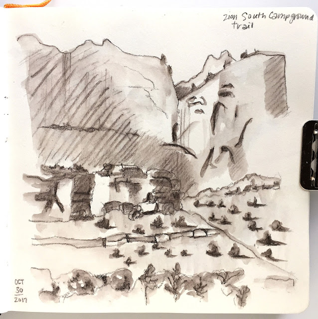 sepia water soluble pencil sketch on the Pa-Rus trail in Zion National Park