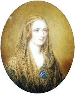Mary Shelley, as portrayed in a miniature painting by Reginald Easton in 1857