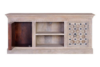 Mueble Televisión Tallado Retro Vintage Decape Blanco Balanda