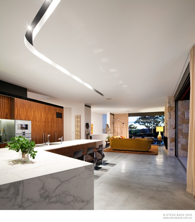 Contemporary kitchen at night