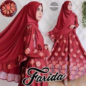 Gamis-Syar'i-Cantik-Farida-Maroon-Terbaru