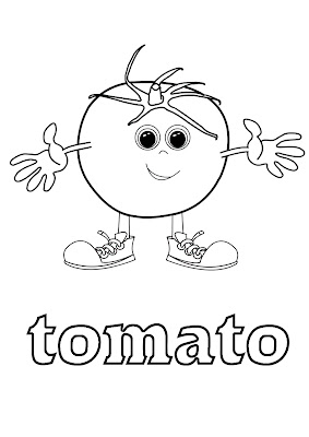vegetables coloring for learning english - tomato