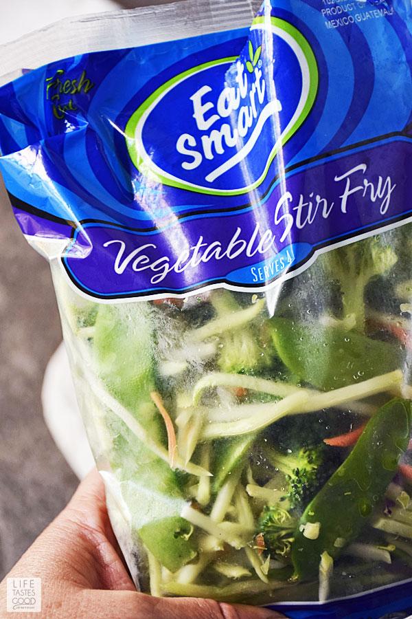 Bag of vegetable stir fry used in Teriyaki Rice Bowl recipe