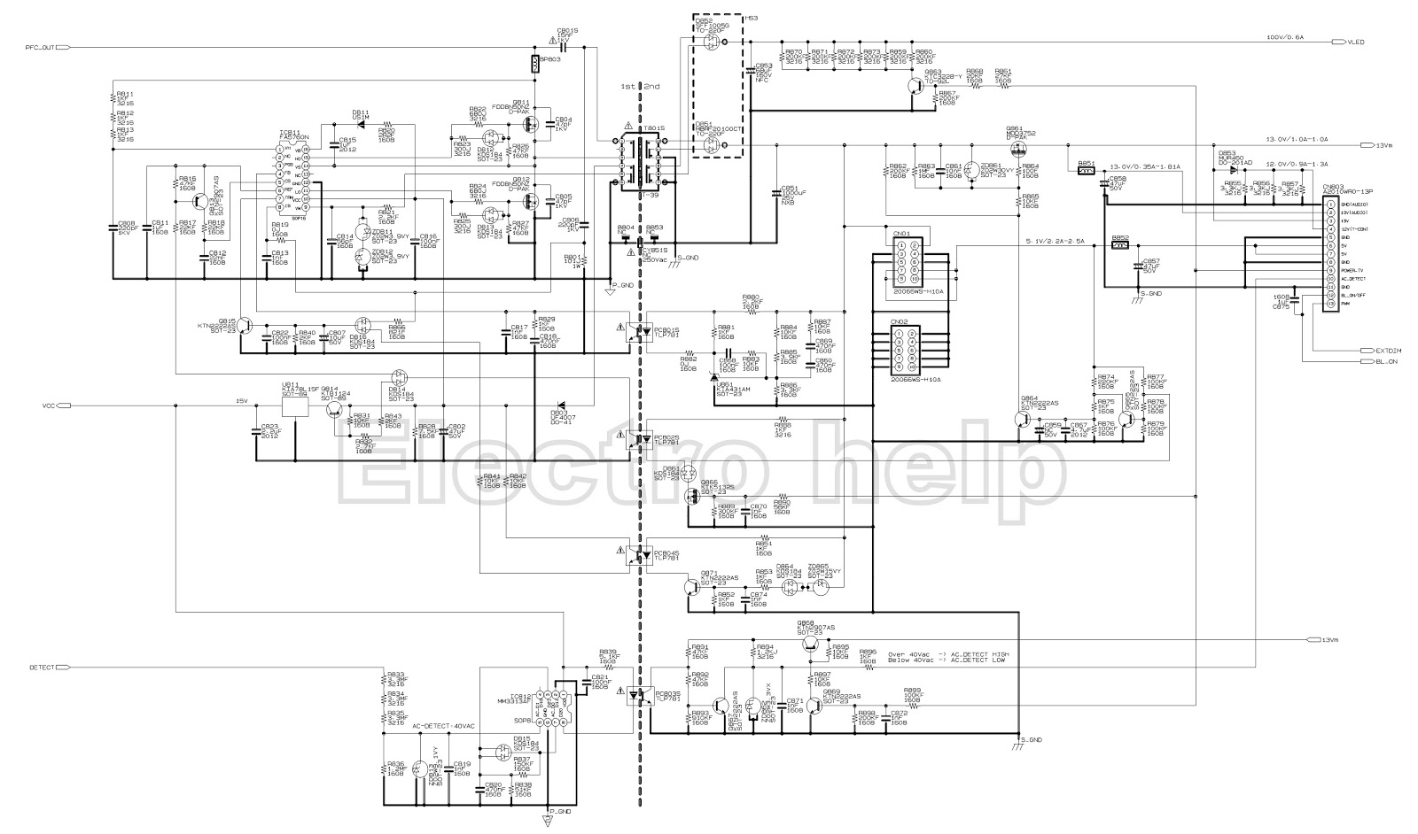 toshiba 32l2300 toshiba 39l2300 led lcd tv smps schematic 5v section led driver remote control handset [ 1600 x 942 Pixel ]