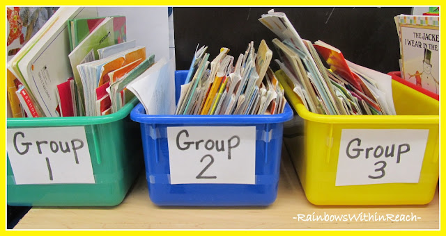 photo of: Book Bins in Kindergarten, Organized for Group Use