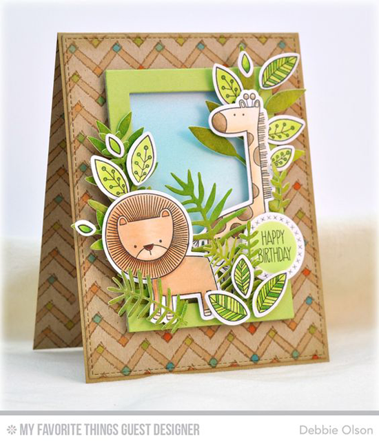 Handmade card from Debbie Olson featuring Sweet Safari stamp set and Die-namics, Primitive Chevron Background stamp, Cross-Stitch Circle STAX and  Rectangle Frames Die-namics #mftstamps