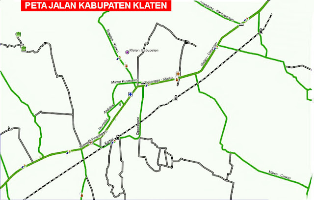Gambar Peta Jalan Kabupaten Klaten, Jawa Tengah Lengkap