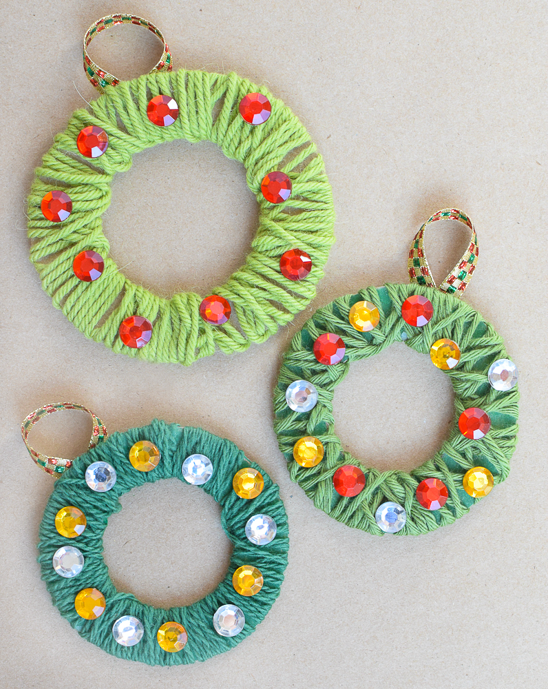 Yarn Wrapped Christmas Wreath Ornaments | What Can We Do ...