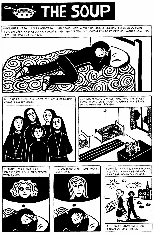 Read Chapter 1 - The Soup, page 1, from Marjane Satrapi's Persepolis 2 - The Story of a Return