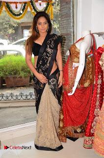 Actress Neetu Chandra Stills in Black Saree at Designer Sandhya Singh's Store Launch  0048.jpg