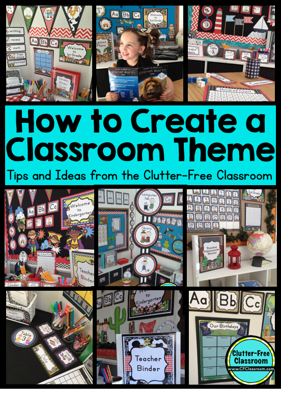 Are you planning to decorate your classroom using a classroom theme? This post explains the benefits, helps you pick a theme and teaches you how to plan and implement a classroom theme. Click through for tips and free printables. #classroomdecor #classroomtheme #elementaryclassroom