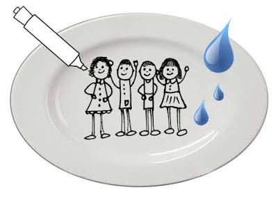 Dibujos animados con rotuladores de pizarra, un plato y agua