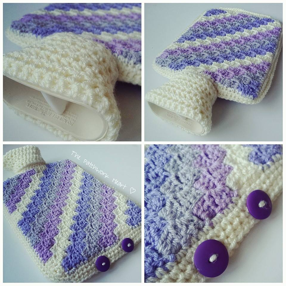 The Patchwork Heart: Crochet hot water bottle covers