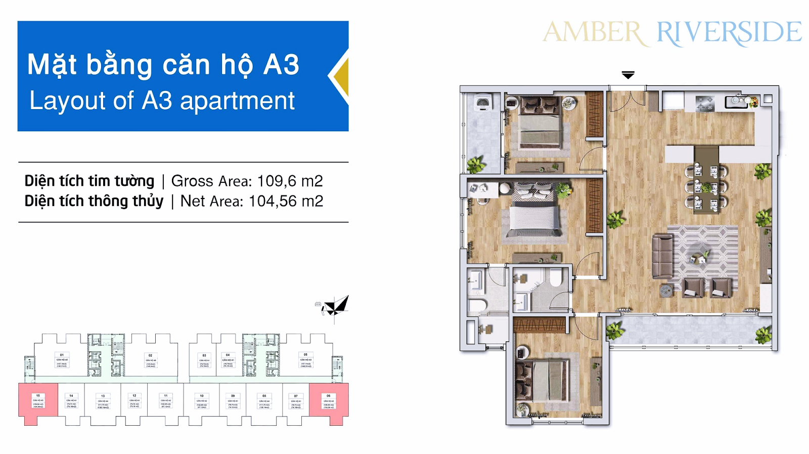 Thiết kế căn hộ A3 chung cư Amber Minh Khai