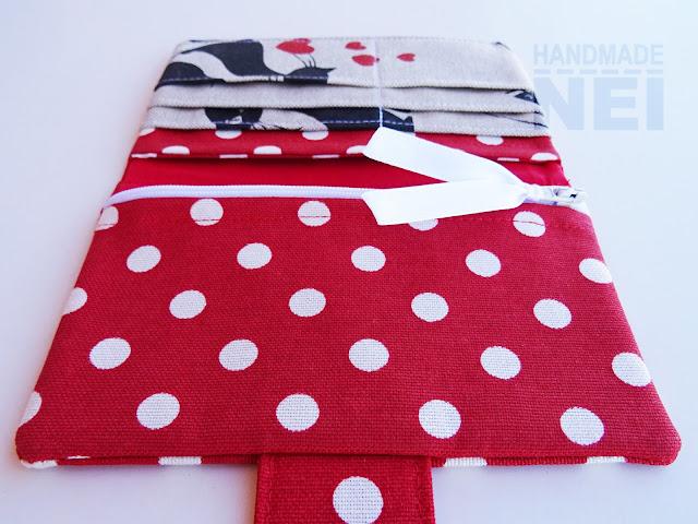 """Handmade Nel: Червено портмоне от плат """"Влюбени котета"""""""