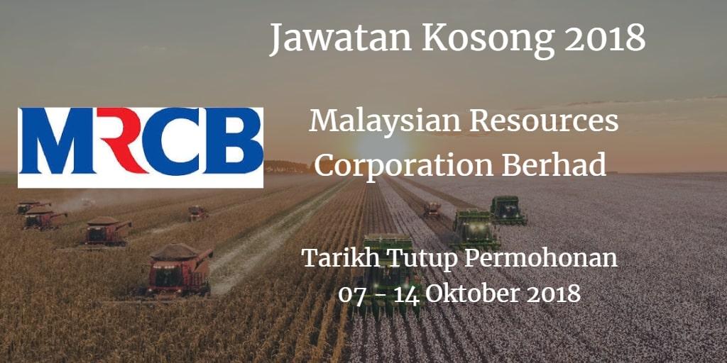 Jawatan Kosong MRCB 07- 14 Oktober 2018