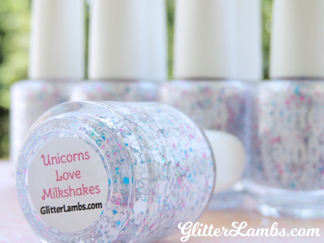 Unicorn nail polish that have really cool glitter in it. For sale in our Etsy shop!