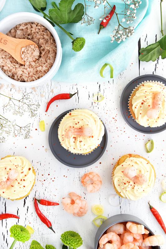 Spicy Cupcakes mit Mango und White Tiger Garnelen