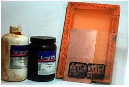 PCB dan material yang akan dibutuhkan di proses pengerjaan sablon PCB.