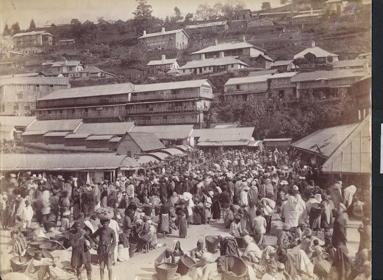 Market Area in Darjeeling, India - 19th Century