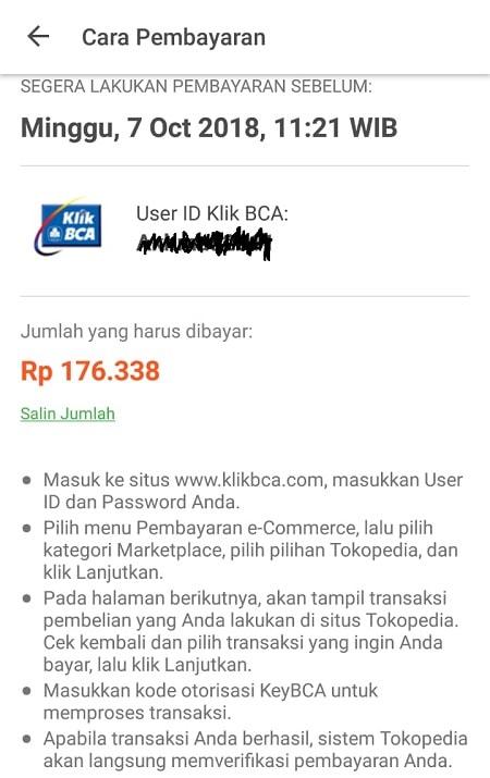 Halaman Pembayaran melalui klikBCA di Tokopedia