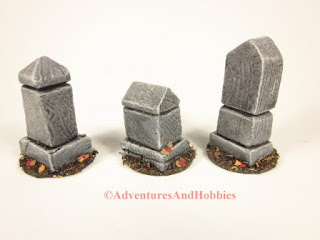 Right side view of three graveyard monuments for 25 to 28mm scale wargames.