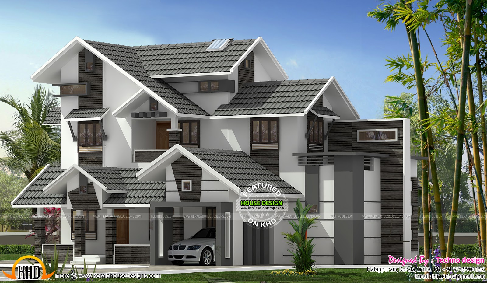 New Sloping Roof Mix House Kerala Home Design And Floor