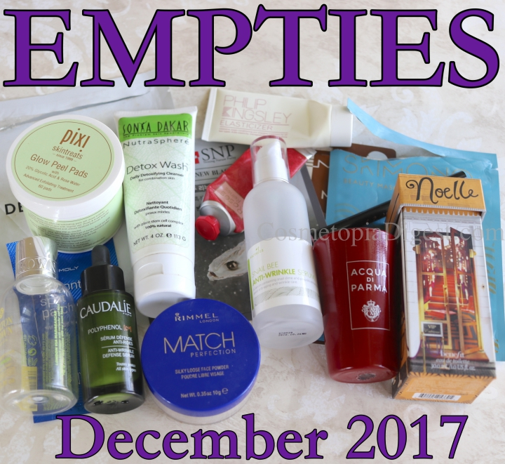 Here are the beauty products I used up in December 2017, and for my quick thoughts on each.