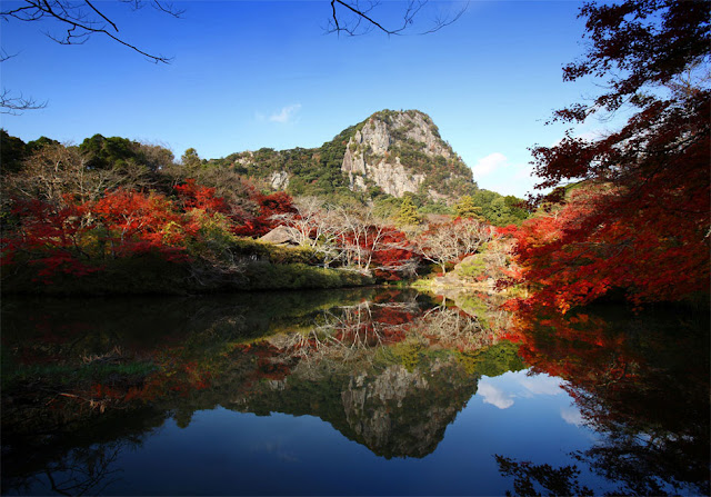 The beautiful colored leaves at Mifuneyamarakuen, part around Mt.Mifune, Takeo City, Saga Pref.